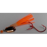 Glitter Bugs Micro Hoochie w/Indiana Copper Blade White/ Orange 1 3/8""