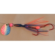 "Ken's Custom Tackle Mini Skirt Blue/Pink Hoochie 2"" w/ Glow Blade"
