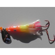 Glitter Bugs Hoochie Orange/ Chart/ White/ Pink Glow with Silver Blade 1 3/4""