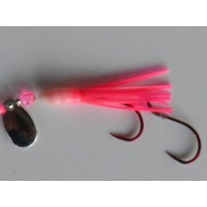 Glitter Bugs Micro Hoochie w/Indiana Silver Blade Hot Pink 1 3/8""