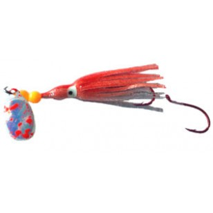 Rocky Mountain Tackle Super Squid Spinner UV Orange Moon Splatter 1.5""